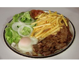 Filete de Ternera-Huevo-Patatas Fritas y Ensalada