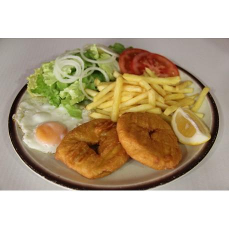 Filete de Merluza Empanado-Huevo-Patatas Fritas y Ensalada